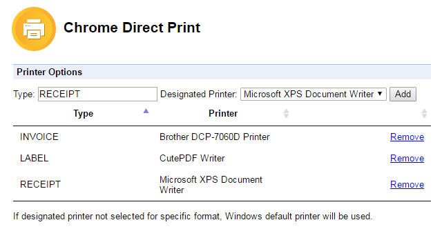 Chrome Direct Print (Silent Print with multiple printer